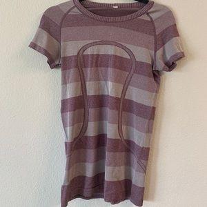 Purple Striped Lululemon Short Sleeve Swiftly Tech